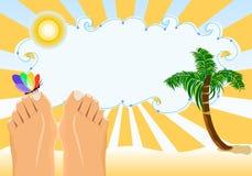Férias de verão que sunbathing na praia tropical ilustração royalty free