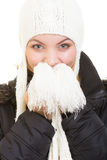 Férias do inverno Menina alegre na roupa morna Imagens de Stock