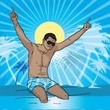 Férias do mar do verão do menino da praia Foto de Stock