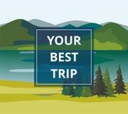 Férias e turismo As camadas de montanha ajardinam com abeto e rio Imagens de Stock