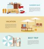 Férias e turismo de verão Ajuste três bandeiras da Web Acessórios da praia Fotografia de Stock Royalty Free