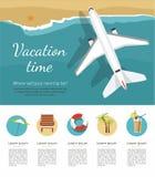 Férias e turismo de verão O avião voa sobre um mar, vista de cima de ícone ilustração do vetor