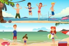 Férias em família na praia Fotografia de Stock Royalty Free