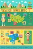 Férias Infographic com os ícones do curso ajustados Fotos de Stock