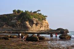 Férias na praia de Klayar, Pacitan Fotos de Stock Royalty Free
