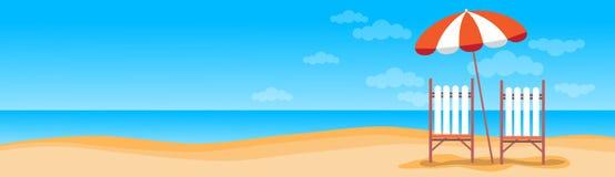 Férias Sunbed da praia do verão com espaço tropical da cópia da bandeira da areia do guarda-chuva ilustração do vetor