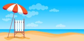 Férias Sunbed da praia do verão com espaço tropical da cópia da bandeira da areia do guarda-chuva ilustração stock