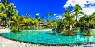 Férias tropicais luxuosas na ilha de Maurícias fotografia de stock