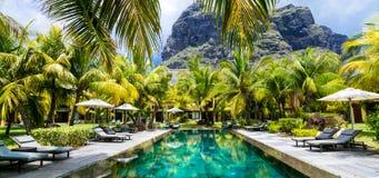Férias tropicais luxuosas Piscina dos termas, ilha de Maurícias fotos de stock