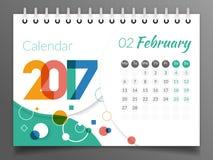 Février 2017 Calendrier 2017 Photographie stock