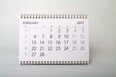 février Calendrier de l'année deux mille dix-sept Photographie stock libre de droits
