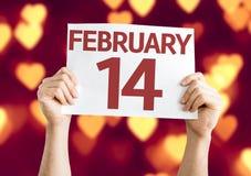 14 février carte avec le fond de bokeh de coeur Photo libre de droits