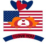 14 février drapeau de pays de Saint Valentin illustration de vecteur
