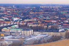 11 février 2017 - effet de jouet d'Inclinaison-décalage de Stockholm, Suède Images libres de droits