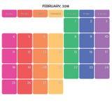 février 2018 grands jours de la semaine de couleur de l'espace de note de planificateur sur le blanc Photographie stock libre de droits