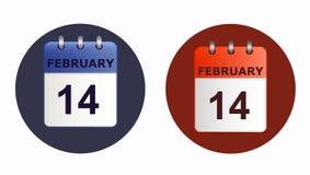 14 février, icône de calendrier dans deux variantes Images stock