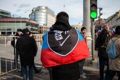 25 février 2018, la RUSSIE, MOSCOU Mars de la mémoire de Boris Nemtsov au centre de Moscou, l'anneau de boulevard, Russie Photos libres de droits