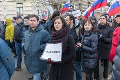 25 février 2018, la RUSSIE, MOSCOU Mars de la mémoire de Boris Nemtsov au centre de Moscou, l'anneau de boulevard, Russie Photographie stock libre de droits
