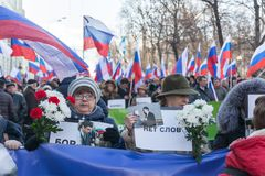 25 février 2018, la RUSSIE, MOSCOU Mars de la mémoire de Boris Nemtsov au centre de Moscou, l'anneau de boulevard, Russie Image stock