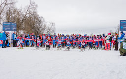11 février 2017 marathon 2017 annuel de ski de Nikolov Perevoz Russialoppet de course de ski de domaine d'art-Veretevo Course de  Image libre de droits