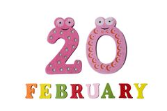 20 février sur le fond, les nombres et les lettres blancs Photo stock