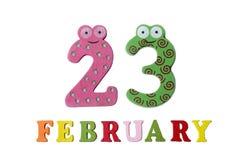 23 février sur le fond, les nombres et les lettres blancs Photographie stock libre de droits