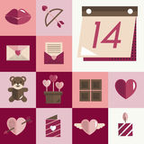 Février Valentine Icon Set Vector Concept heureux Photos stock