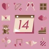 Février Valentine Icon Set Vector heureux Image stock