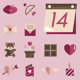 Février Valentine Icon Set Vector heureux Photos libres de droits
