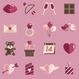 Février Valentine Icon Set Vector heureux Photo libre de droits
