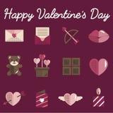 Février Valentine Icon Set Vector heureux Photographie stock
