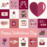 Février Valentine Icon Set Vector heureux Photo stock