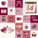 Février Valentine Icon Set Vector heureux Images stock