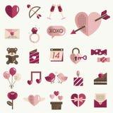 Février Valentine Icon Set Vector heureux Images libres de droits