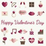 Février Valentine Icon Set Vector heureux Image libre de droits