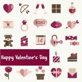Février Valentine Icon Set Vector heureux Photos stock