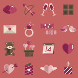 Février Valentine Icon Set Vector heureux Photos stock