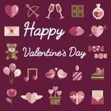 Février Valentine Icon Set Vector heureux Photo libre de droits