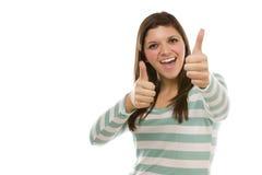 Fêmea étnica Excited com polegares acima no branco Foto de Stock