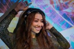 Fêmea asiática DJ Fotografia de Stock