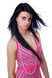Fêmea bonita em um vestido cor-de-rosa Fotografia de Stock