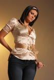 Fêmea bonita na camisa do cetim imagem de stock royalty free