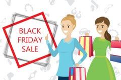 Fêmea caucasiano com sacos de compras, sal preto de duas formas de sexta-feira ilustração stock