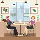 A fêmea caucasiano e árabe da forma está sentando-se em uma tabela em acolhedor ilustração do vetor