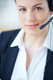 Fêmea com auriculares foto de stock royalty free