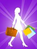 Fêmea com sacos de compra Imagem de Stock