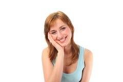 Fêmea com suas mãos em sua face imagem de stock