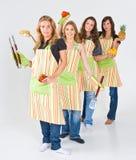 A fêmea cozinha a equipe Imagens de Stock