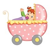 Fêmea da criança com o carrinho de criança Imagens de Stock Royalty Free