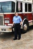 Fêmea da luta contra o incêndio Foto de Stock Royalty Free
